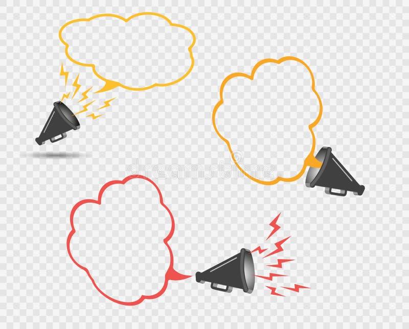 3D megafoon hailer, luid sprekend om te draaien Het concept reclamekorting, bel De correcte golven worden geleid Vector vector illustratie