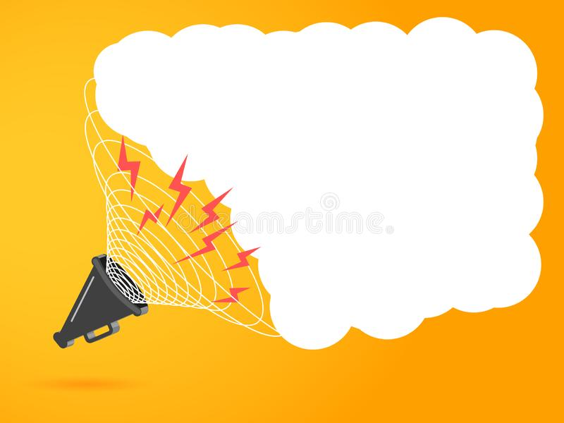 3D megafoon hailer, luid sprekend om te draaien Het concept reclamekortingen De correcte golven worden geleid Vector illustratie royalty-vrije illustratie