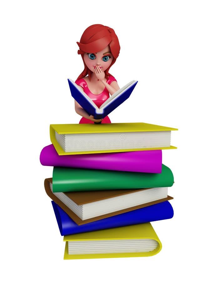 3d meisje met boeken vector illustratie