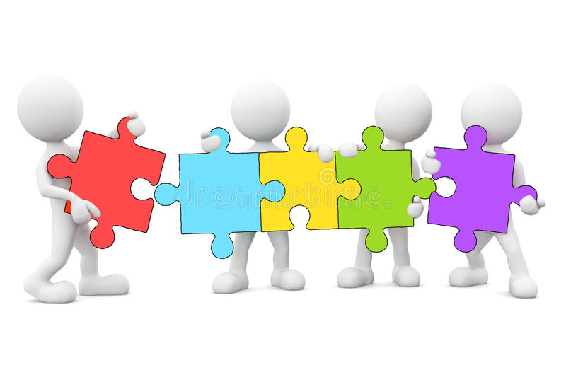 Download 3D Men Connecting Jigsaw Puzzle Stock Illustration