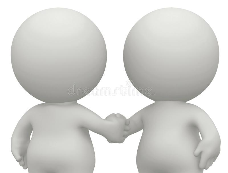 3D men handshaking isolated royalty free illustration