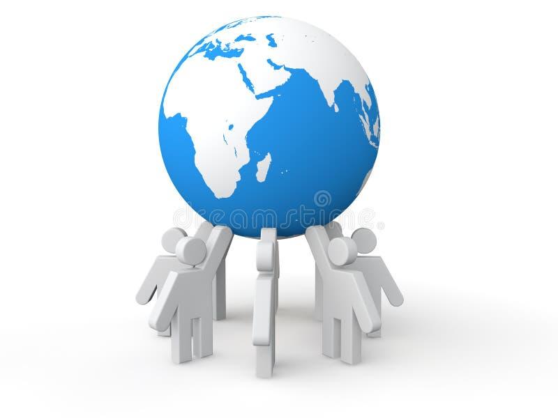 3D men holding earth globe stock illustration