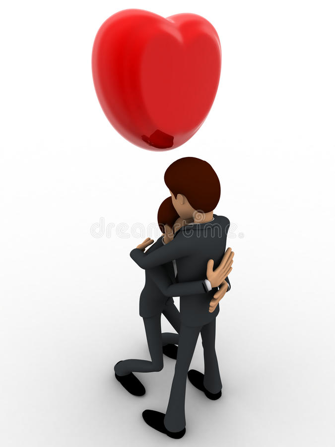 3d men hug each other and with heart on haed concept stock photo