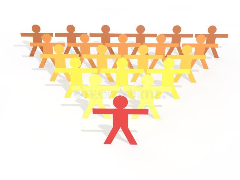 3d Men stick figures leadership concept stock photos