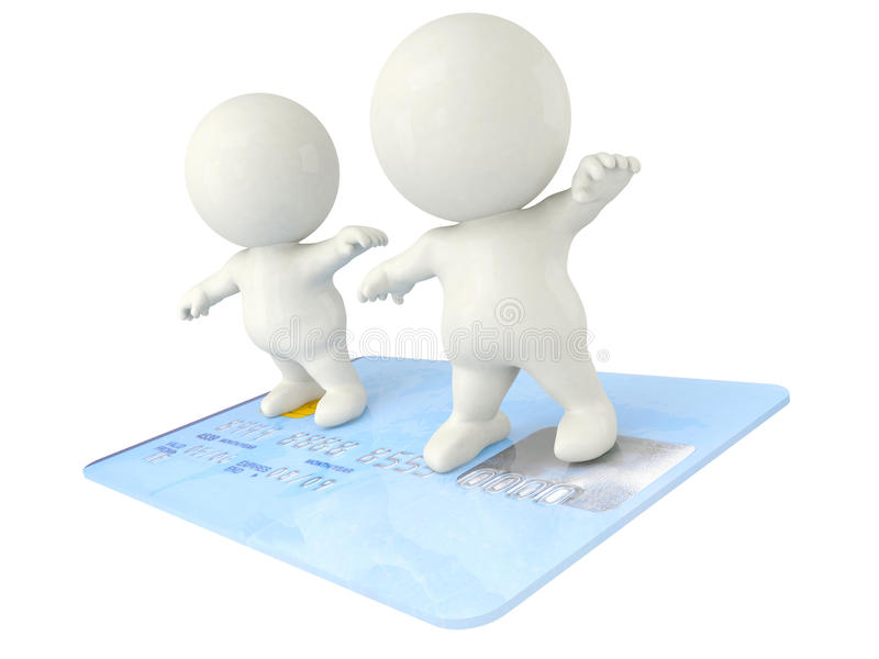 3D men surfing on a credit card
