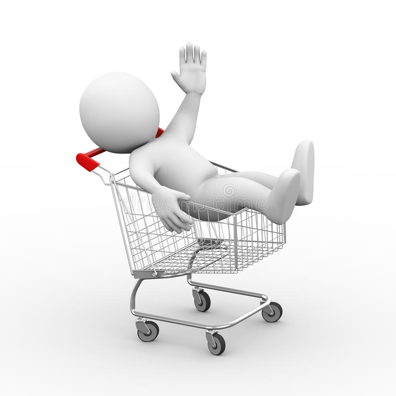 3d mens in boodschappenwagentjekarretje vector illustratie