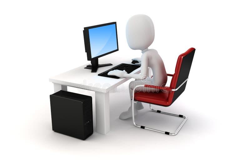 3d mens die aan computer werken vector illustratie