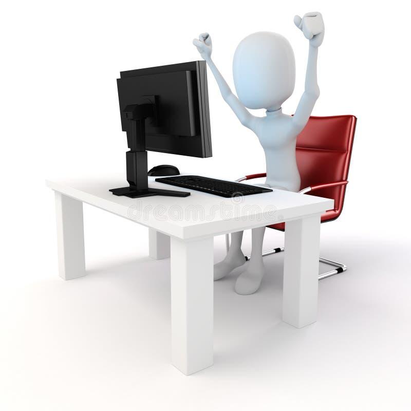 3d mens die aan computer werken royalty-vrije illustratie