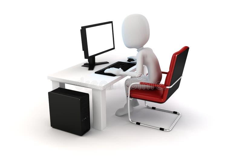 3d mens die aan computer werken stock illustratie