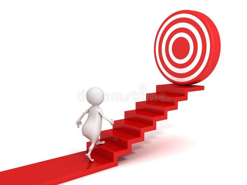 3d mens die aan doel op succesladder naar boven gaan vector illustratie