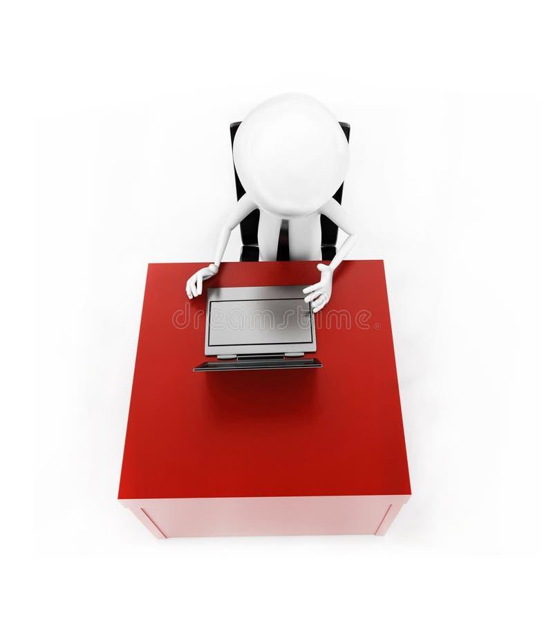 3d mens die aan laptop op zijn bureauconcept werken royalty-vrije illustratie
