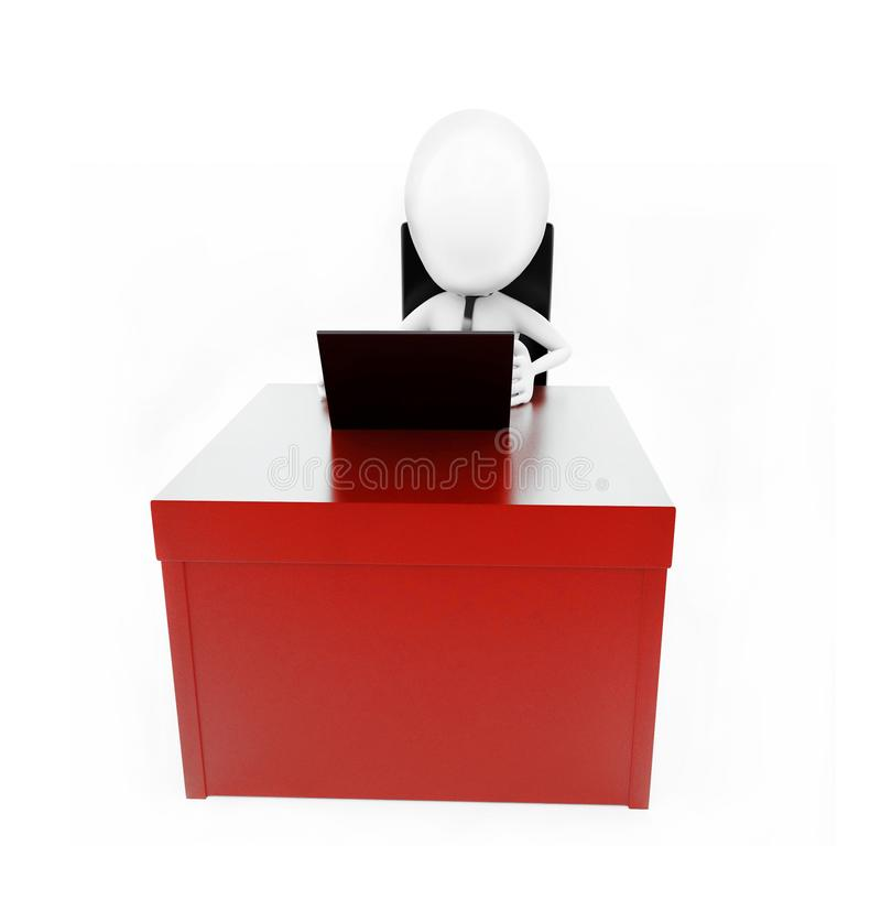 3d mens die aan laptop op zijn bureauconcept werken vector illustratie