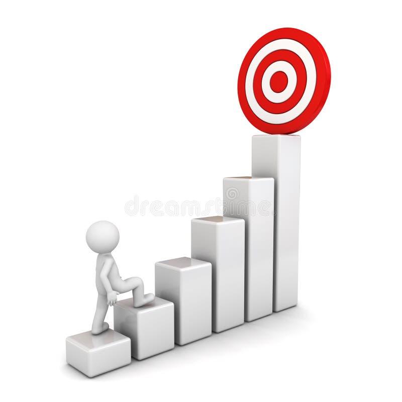3d mens die aan zijn succesvol doel bovenop bedrijfsgrafiek over wit opvoeren vector illustratie