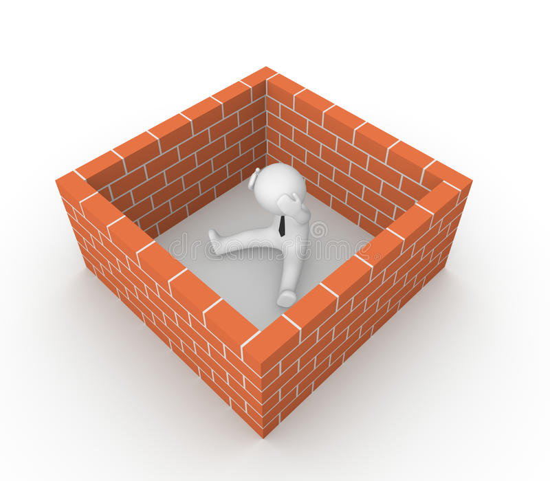 3d mens die door de bakstenen muur wordt omringd vector illustratie