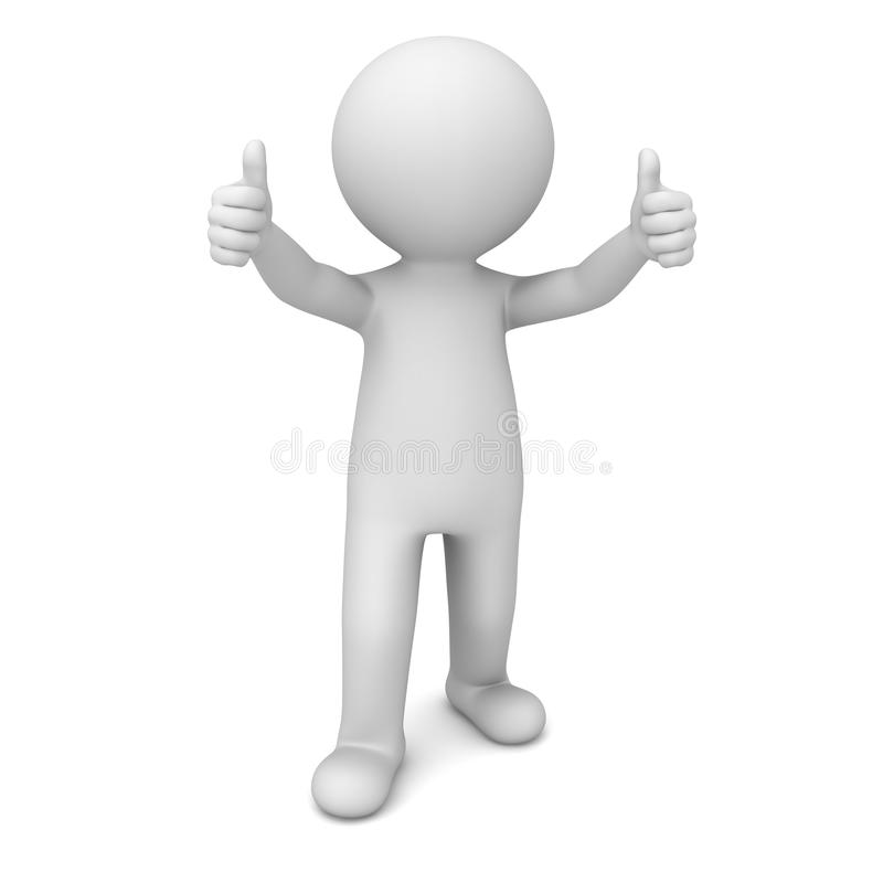 3d mens die duimen over wit tonen stock illustratie