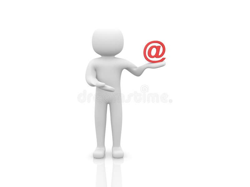 3d mens die een teken e-mail houden vector illustratie