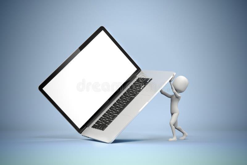 3d mens die grote laptop houden vector illustratie