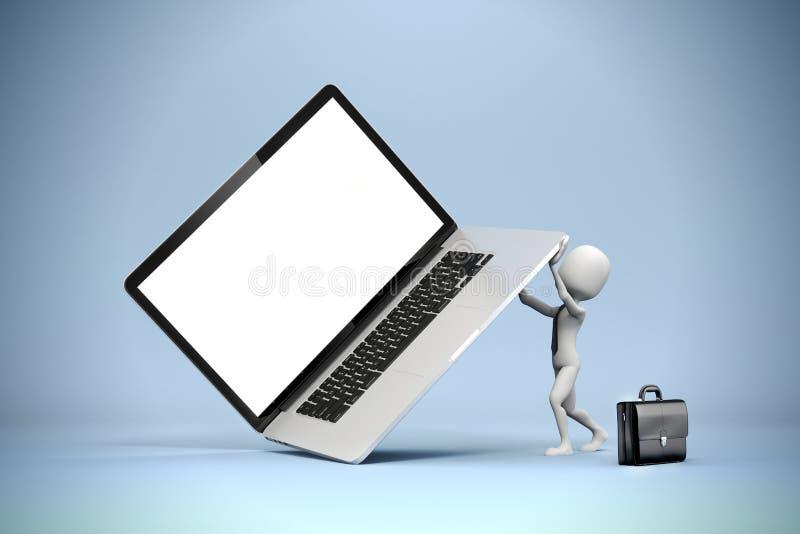 3d mens die grote laptop houden stock illustratie
