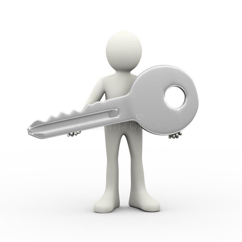 3d mens die grote zilveren sleutel houden vector illustratie