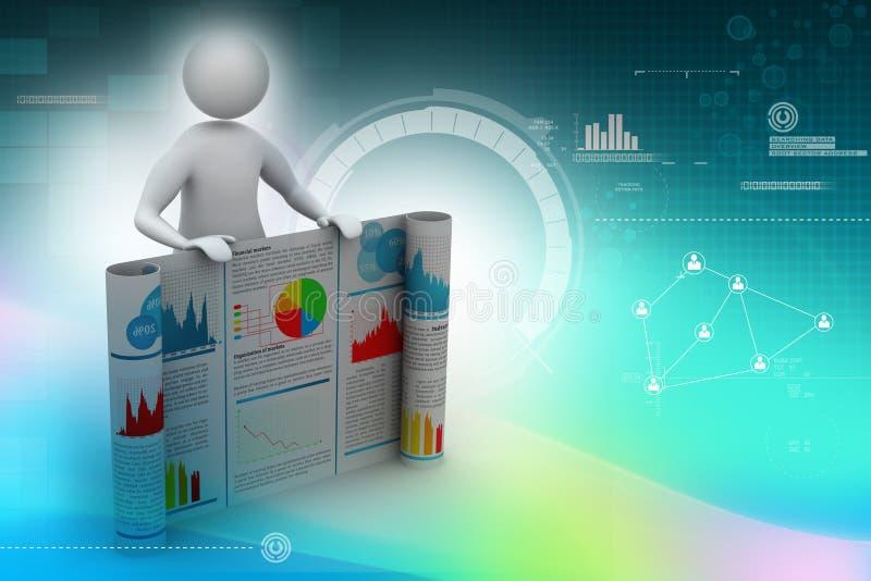 3d mens die het bedrijfsrapport tonen vector illustratie