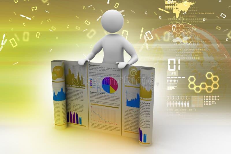 3d mens die het bedrijfsrapport tonen stock illustratie