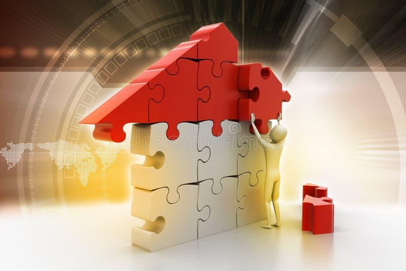3d mens, die het huis bouwen royalty-vrije illustratie