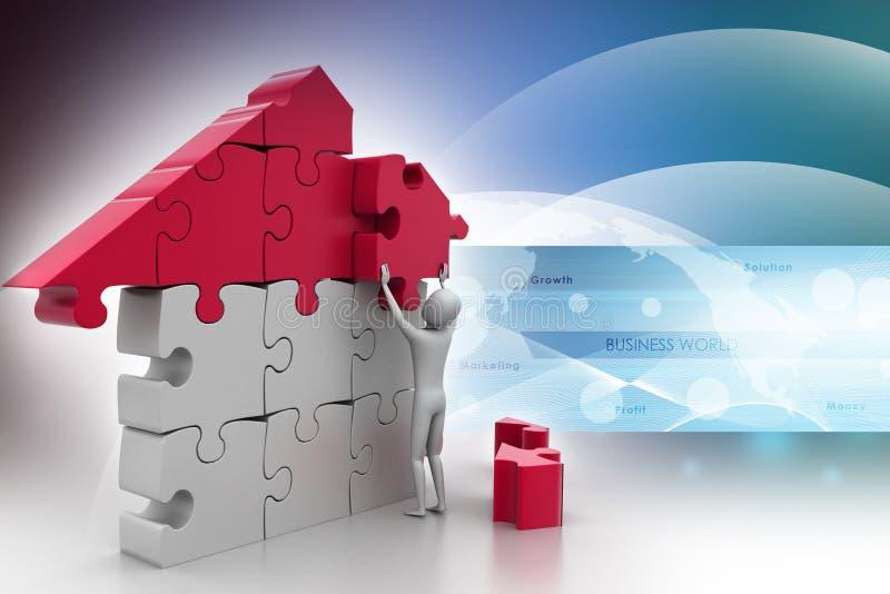 3d mens, die het huis bouwen stock illustratie