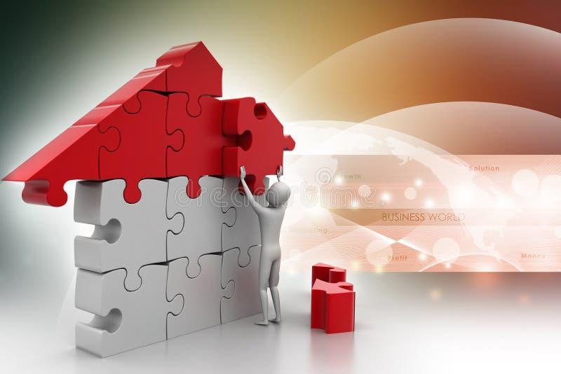 3d mens, die het huis bouwen vector illustratie