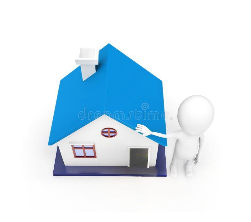 3d mens die huis modelconcept voorstellen royalty-vrije illustratie