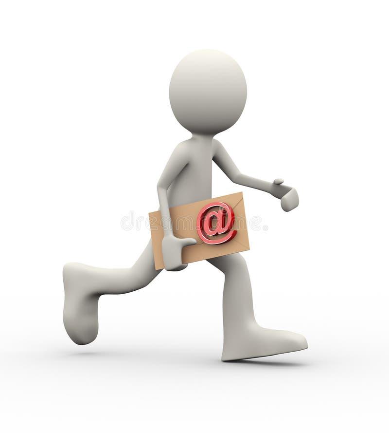 3d mens die met e-mail lopen wikkelt vector illustratie
