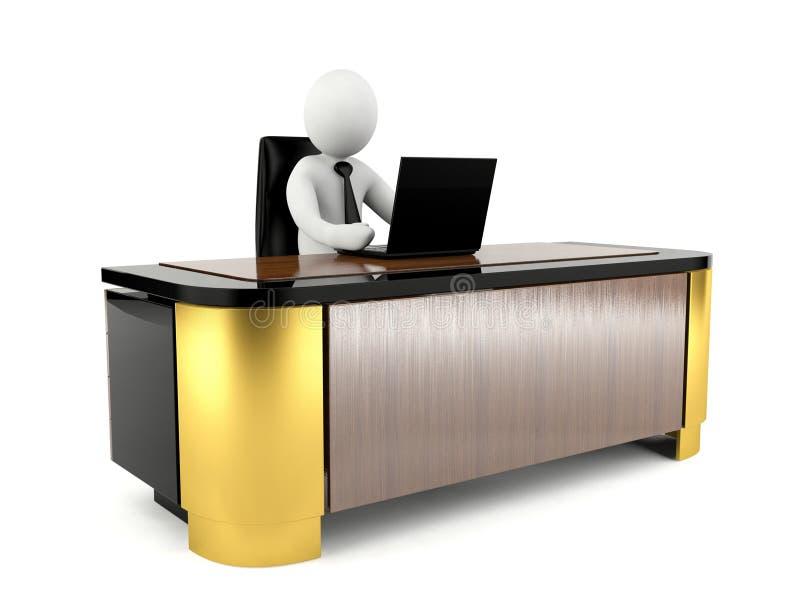 3D mens die met laptop aan groot werkend bureau werken stock illustratie
