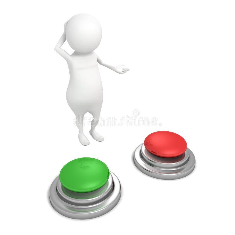 3d mens die met rode en groene knopen keus benieuwd zijn vector illustratie