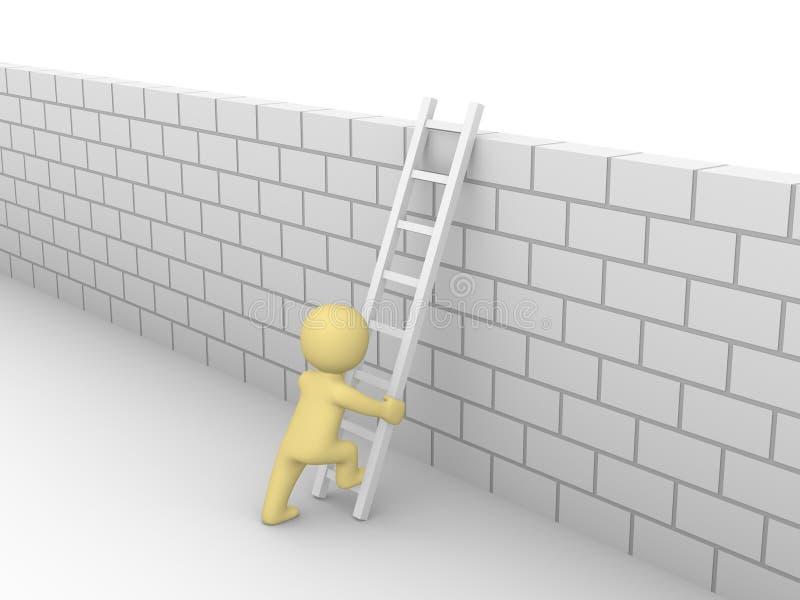 3d mens die op de bakstenen muur beklimmen vector illustratie