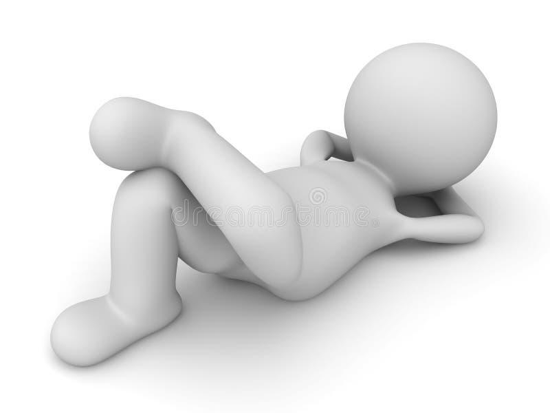 3d mens die op de vloer liggen vector illustratie