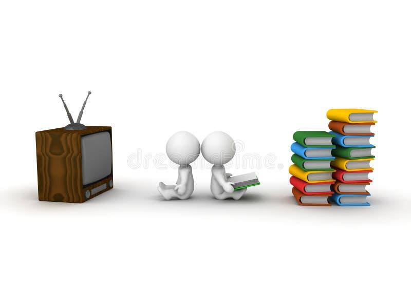 3D Mens die op TV en 3D Boek van de Mensenlezing letten royalty-vrije illustratie