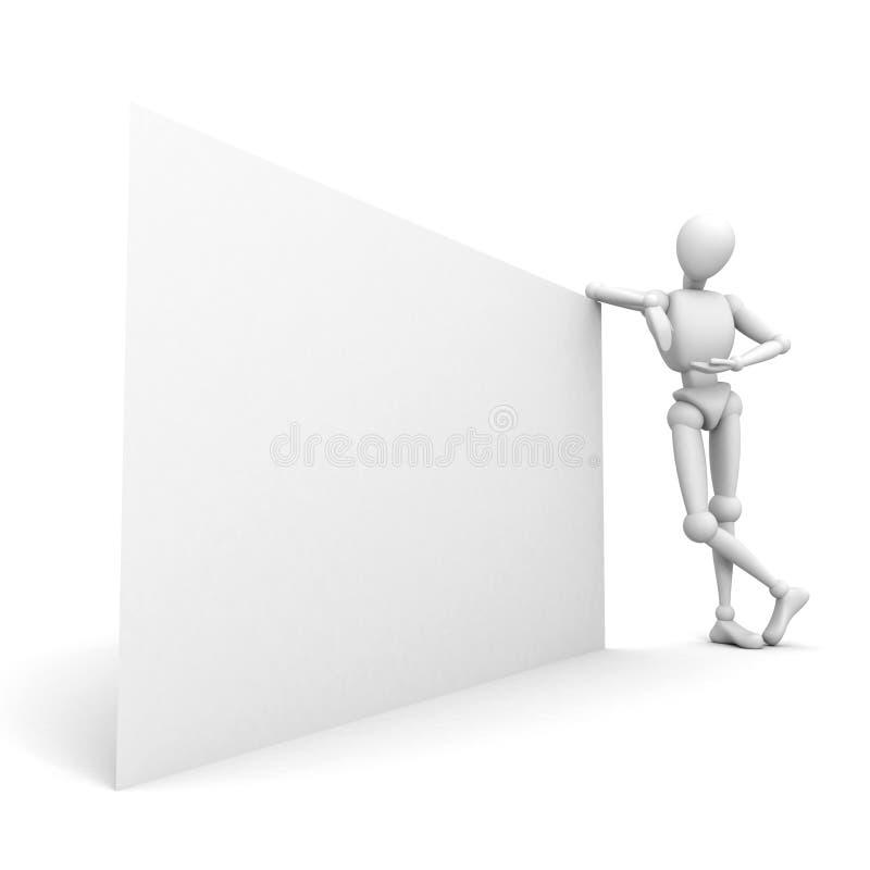 3d mens die op witte commerciële raad leunt vector illustratie