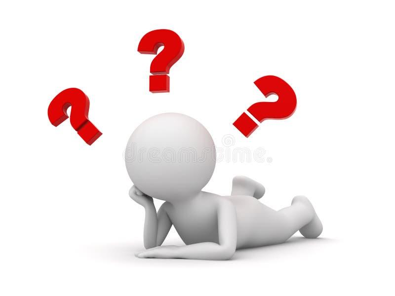 3d mens die op zijn maag liggen en met rode vraagtekens denken vector illustratie
