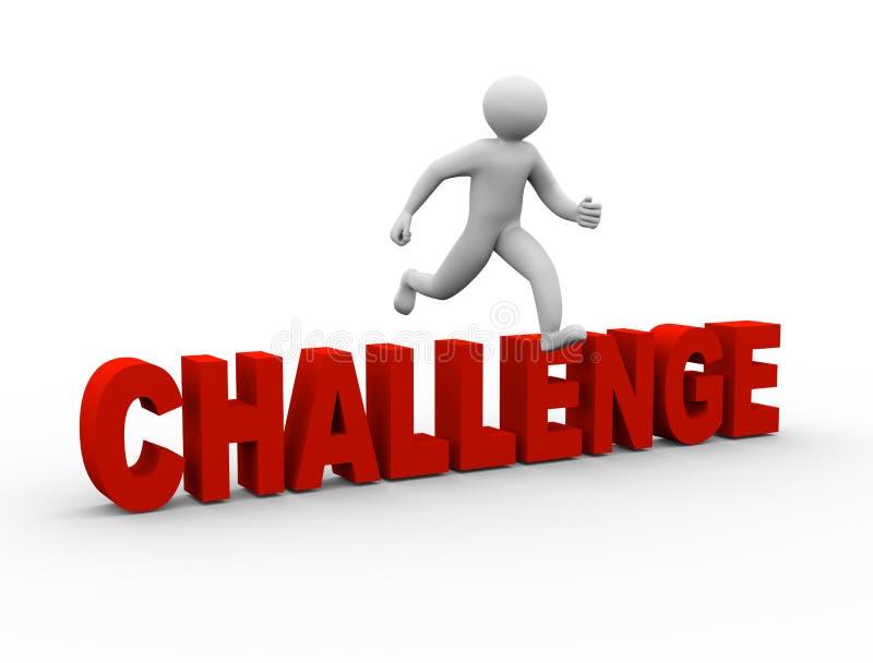 3d mens die over uitdaging springen royalty-vrije illustratie