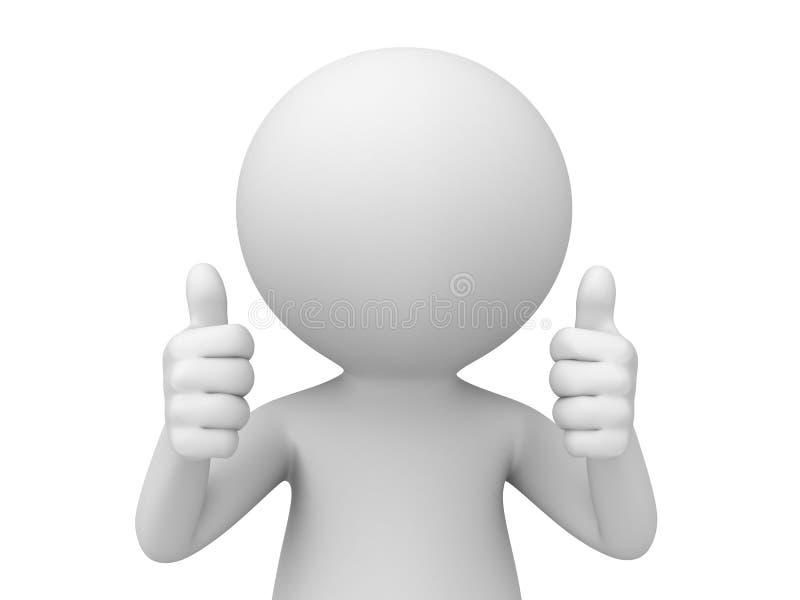 3d mens die twee duimen tonen vector illustratie