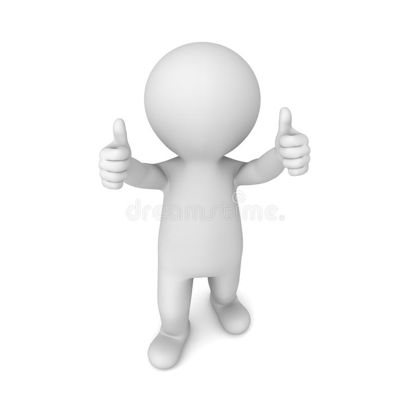3d mens die twee duimen tonen die omhoog op witte achtergrond worden geïsoleerd royalty-vrije illustratie