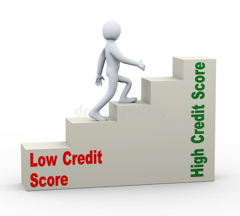 3d mens die van lage aan hoge kredietscore gaan royalty-vrije illustratie