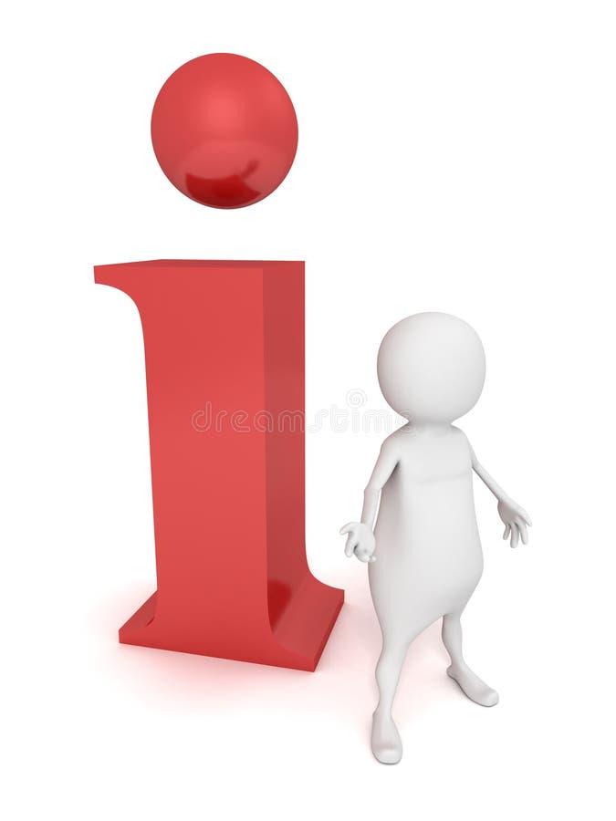 3d mens die zich dichtbij aan een informatie rood pictogram bevinden stock illustratie