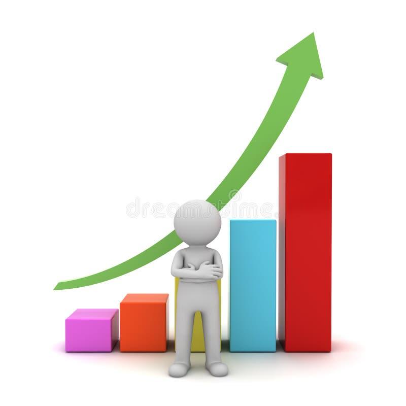 3d mens die zich met die wapens bevinden voor de groei bedrijfsgrafiek worden gekruist stock illustratie