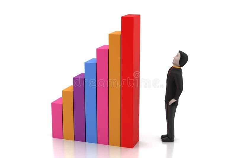 3d mens die zich naast de kleurrijke bedrijfsgrafiek bevinden royalty-vrije illustratie