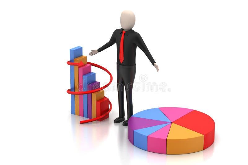 3d mens die zich naast de kleurrijke bedrijfsgrafiek bevinden vector illustratie