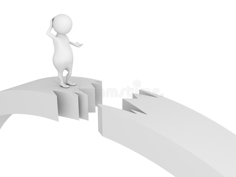 3d mens die zich op gebroken gebarsten brugschade bevinden royalty-vrije illustratie