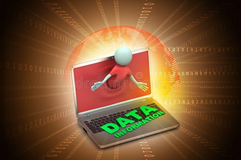3d mens door laptop die gegevens tonen vector illustratie