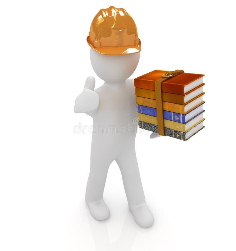3d mens in een bouwvakker met duim stelt omhoog de beste technische literatuur voor royalty-vrije illustratie
