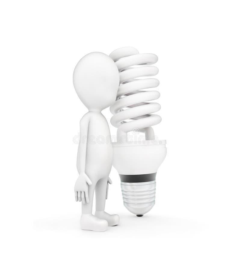3d mens en een CFL-bol vector illustratie
