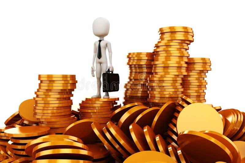 3d mens en gouden muntstukken stock illustratie
